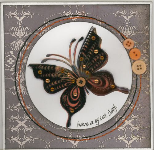 Butterfly card with Basic Grey Ambrosia collection