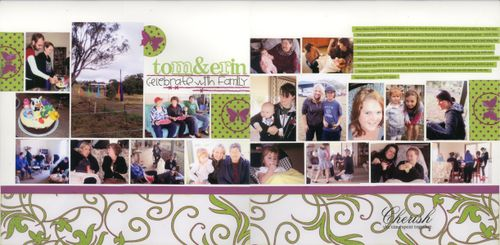 Tom & Erin celebrate with Family - double layout